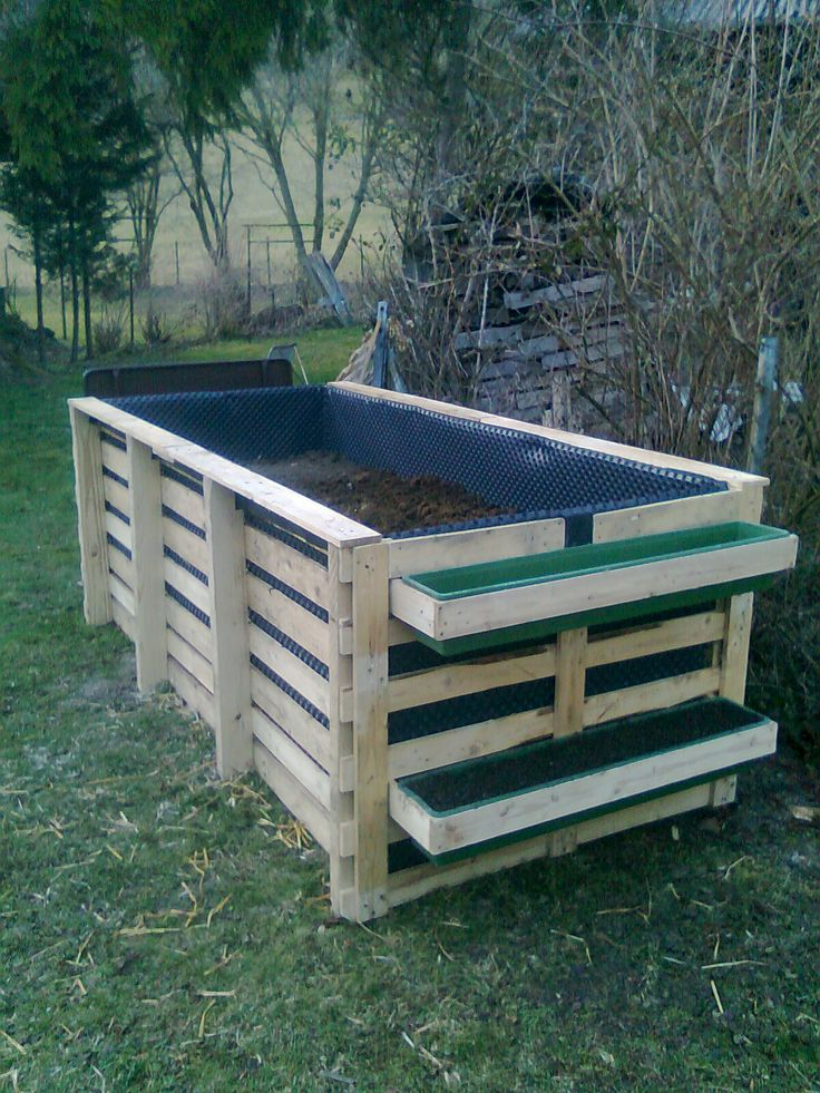 "My almost finished ""Hochbeet"" (raised bed)...made with recycled, FREE Europallets. (Total cost: 22 EUR. Plastic liner, wire bottom to protect against chewing critters)."