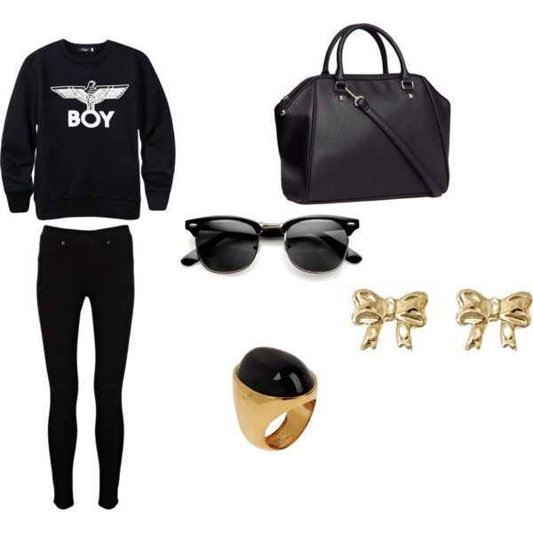 """Casual Total Black Outfit"" by vas0an on Polyvore"