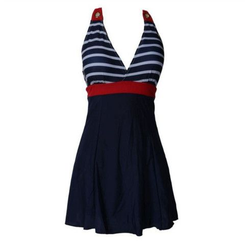 Skirted Stripe One Piece Women Swimsuit   Daisy Dress for Less   Women's Dresses & Accessories