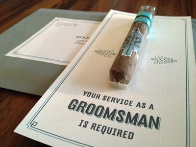 Groomsman invitation, but Tan's will have little bottles of Whisky. lol.