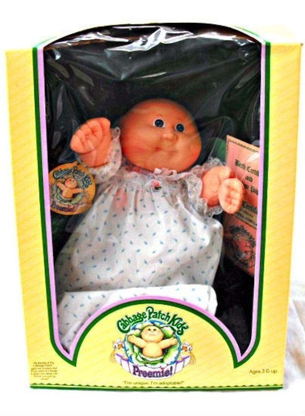 """Cabbage Patch Kids Preemies: My mom fought other moms at Kmart when they rolled these out oneday  when we were there. Got her for Christmas when I was 11. Her name was """"Catalinta Elita"""" (cant remember anything but can remember her name???)"""