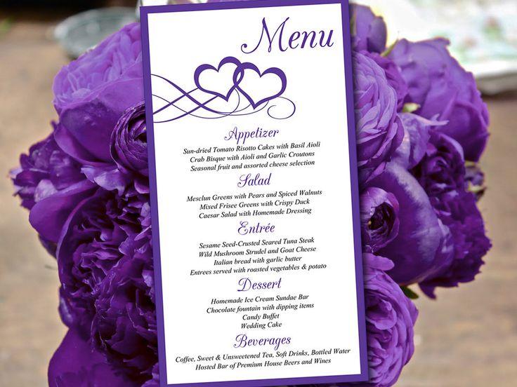 """Printable Menu Template Download - DIY Wedding Menu """"Entwined Hearts"""" Regency Purple - Printable Wedding Menu Card Template - Entree Card by PaintTheDayDesigns on Etsy"""