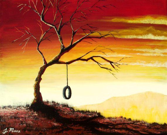 Simple Bliss - Original Acrylic Landscape Painting- Fine Art (sunset trees art)