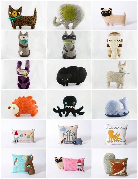 repurposed sweaters made into fun pillows!