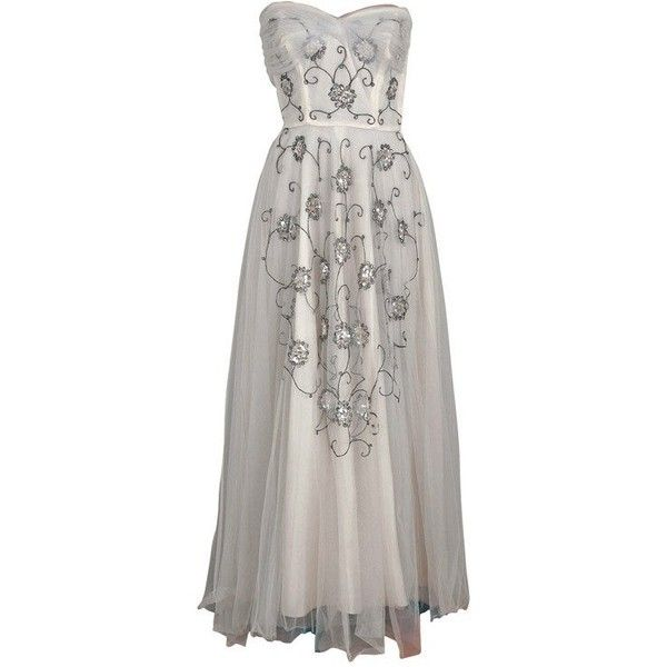 Preowned 1940's Bergdorf Goodman Ivory-white Sequin Metallic... ($825) ❤ liked on Polyvore featuring dresses, gowns, vintage, wedding, grey, wedding dresses, vintage sequin gown, white evening gowns, vintage gowns and white sequin dress