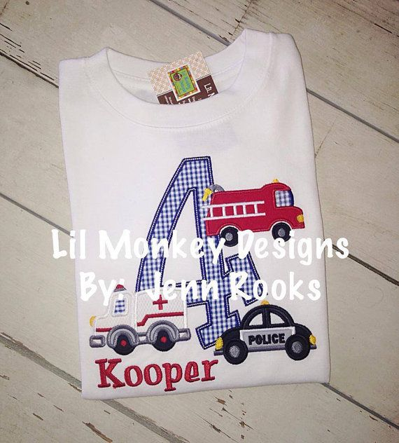 Any little Boy will LOVE this Rescue Vehicle themed Birthday shirt! I can do it for any number, or I can do a letter instead of a number.