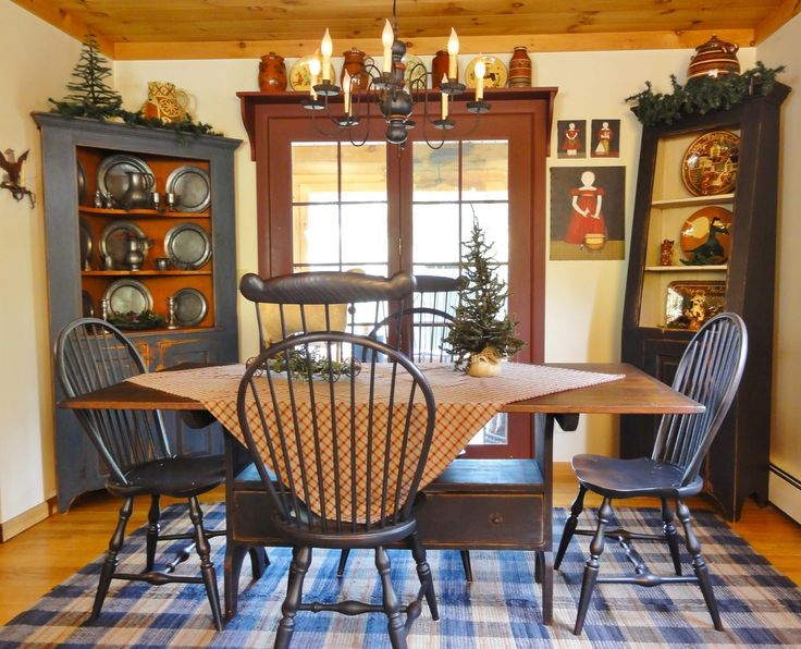 226 best images about primitive dining rooms on pinterest for Primitive dining room ideas
