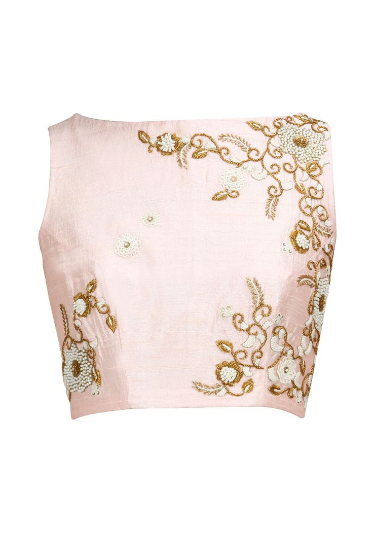 Blush zardosi and pearl embroidered crop top available only at Pernia's Pop-Up Shop.