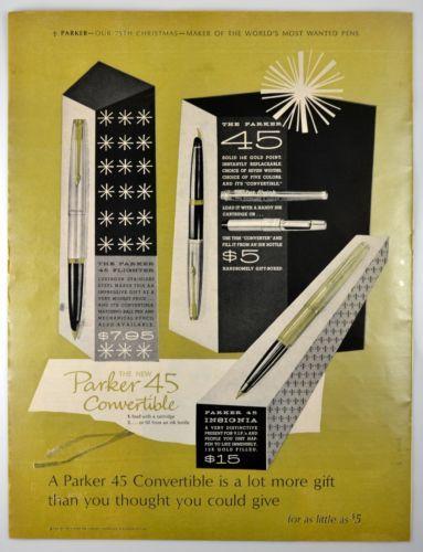 1964-Parker-Pen-Vintage-Ad-Parker-45-Convertible-75th-Christmas-LARGE-AD