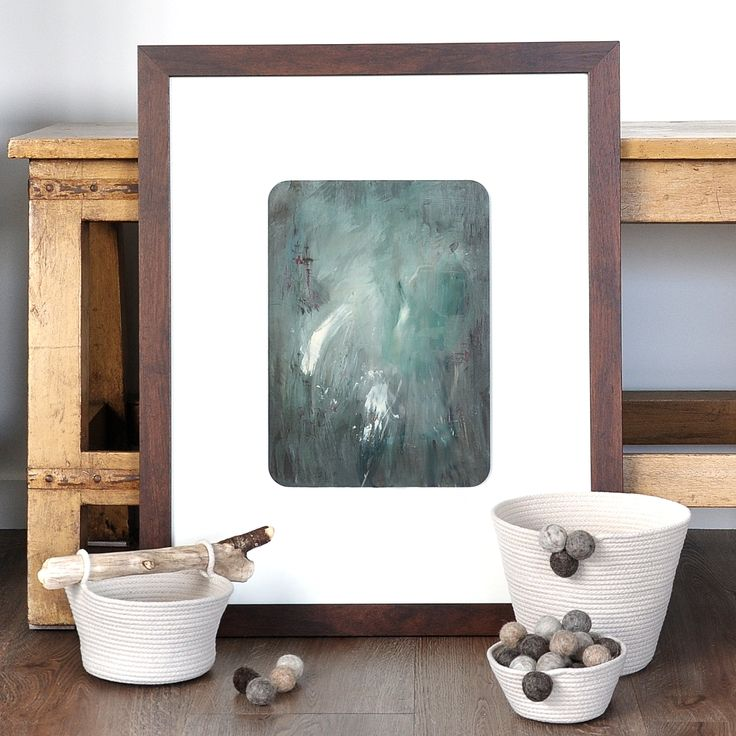 The Penny Drops - original art on board, framed. Abstract landscape, moody jewel-toned abstract. Teal and fuschia. SOLD