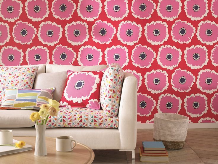Delightfully bold and bright, this is the gorgeous Papavera wallpaper design by Sanderson.