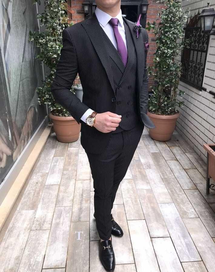 b9ba5e3777266 Terziademaltun - İtalyan stil slim fit erkek ceket yelek pantolon siyah  takım elbise T2523