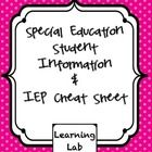 All of the important IEP information on one page!  I print this form out and write on in with pencil so that it is easy to change.  We all know how...