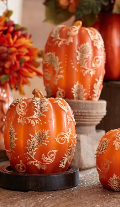 Update your harvest look with Toile Pumpkins that illuminate.