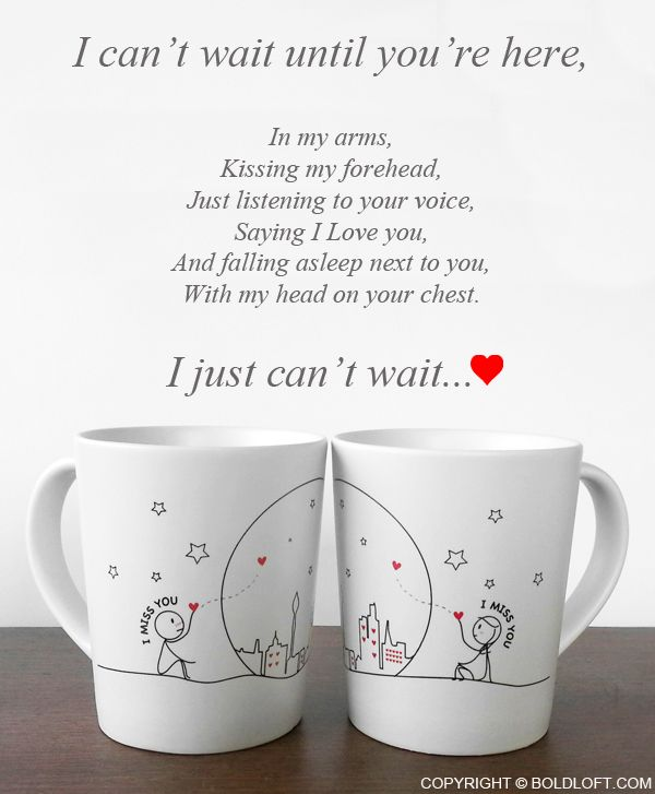 """I Miss Us Together! Wish you were here so I could tell you how hard every day and night has been without you!"" This coffee mug set is a soothing reminder from you to them that you're here, you'll always be here, and you're always theirs. Keep your loved one on your mind all day long with these coffee mugs, and they'll keep your heart warm with reminders of your infinite love."