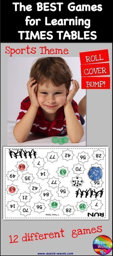 Learning Times Tables is easy with these Math games. 12 sports-theme boards, plus an answers grid. Play, have fun and learn!