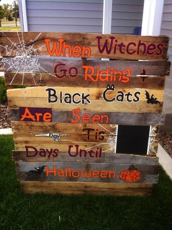 recycled and reclaimed pallet halloween decorations ideas - Wooden Halloween Decorations