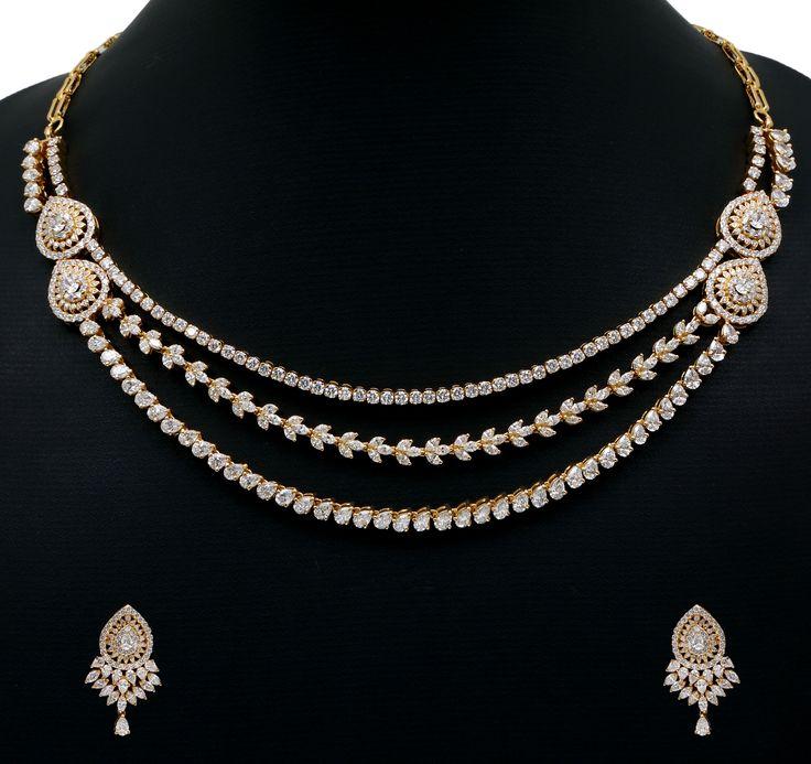 Diamond necklace set. Vummidi Bangaru Jewellers.