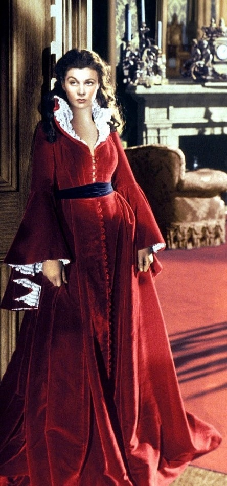 Scarlett's red robe from 'Gone With The Wind' (1939). Costume Designer: Walter Plunkett