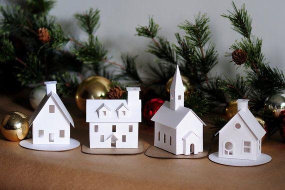Fai da te Putz villaggio ornamento Kit di 4 decorazioni di Natale Glitter House