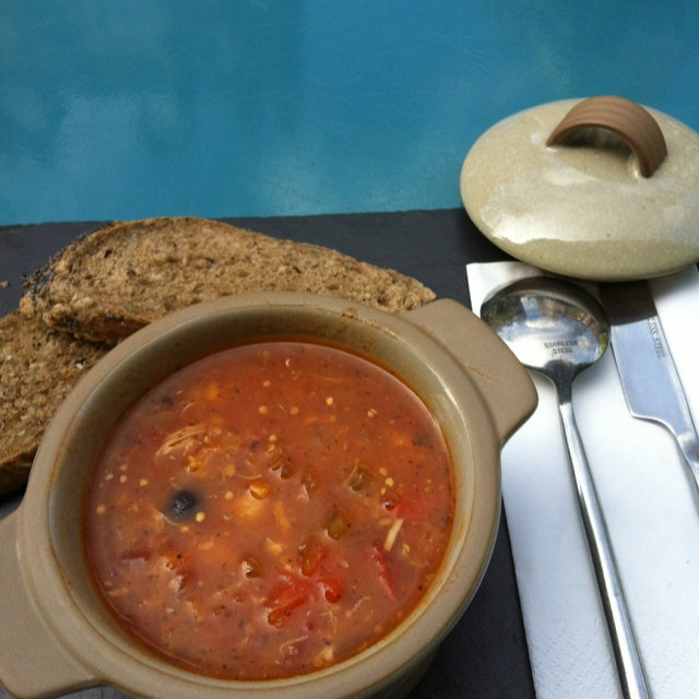 Lightly spiced Moroccan soup with chickpeas and a touch of lemon from @unionofgenuis yum!