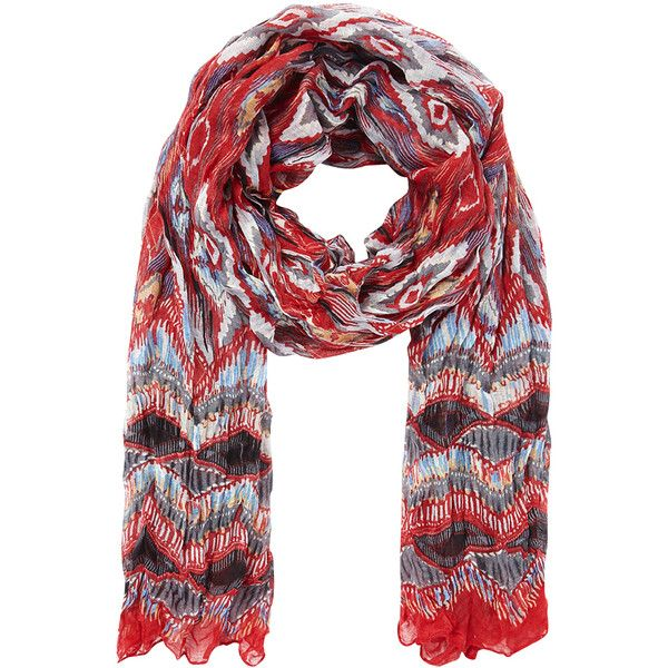 Aaiko Scarf Etna Red (73 BRL) ❤ liked on Polyvore featuring accessories, scarves, aaiko, red shawl, red scarves, colorful shawl and print scarves