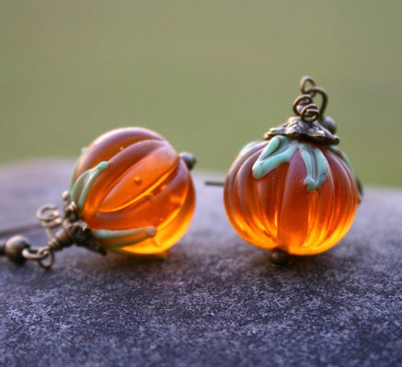 Pumpkin Earrings Halloween Fall Harvest Jewelry by InspiredTheory, $30.00 These are perfect for the coming season!