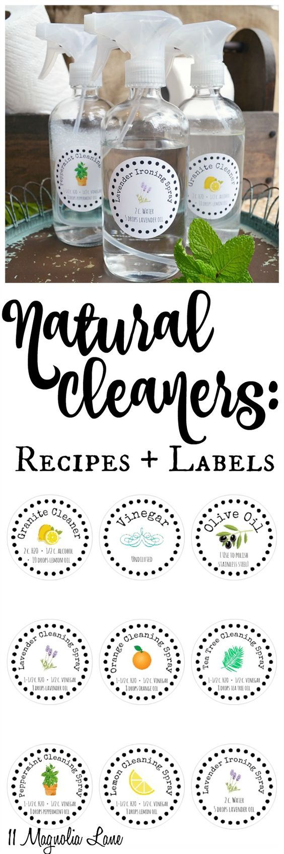 Spring cleaning tips, including natural DIY cleaning solution recipes using essential oils and free printable labels for your cleaners (peppermint, lemon, tea tea, lavender, orange, vinegar, olive oil)