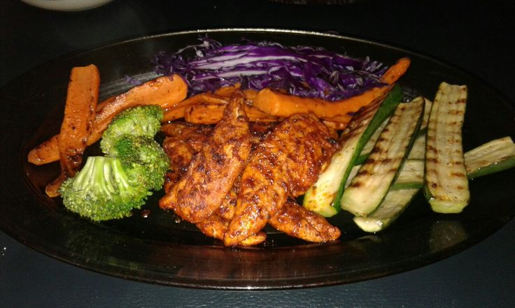 Chilli n coffee liqueur  grilled chicken with char grilled veg. Mix chilli powder salt olive oil paste. Dip chicken breast in coffee liqueur baste with chilli mix let stand for 30mins. Grill on skillet till tender. Garnish with grilled veg of choice...enjoy
