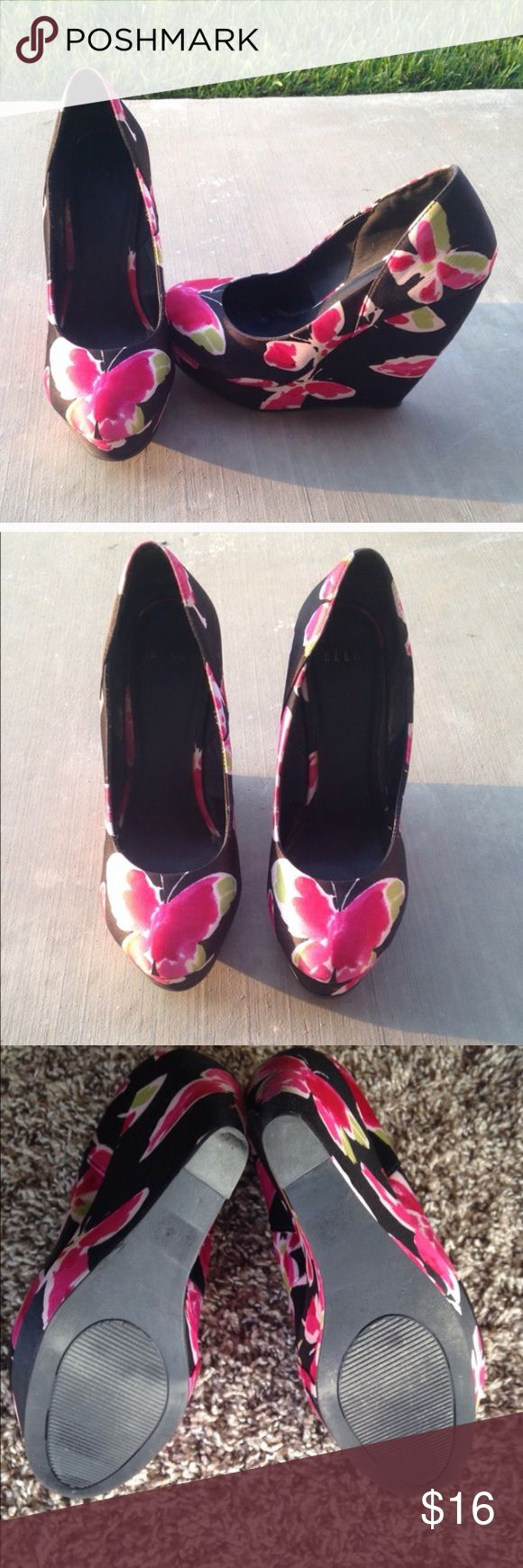 """Elle Butterfly Wedges Beautiful and vibrant. Butterfly pattern wedges by Elle in great used condition. Aprox 5"""" wedge. Elle Shoes Wedges"""