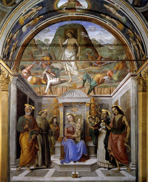 G_santi_Sacra_conversación_con_resurrección_Fresco_San_Domenico_capilla_Tiranni,_Cagli.jpg Фрески Капеллы тиранов в ц. Св. Доменика в Кальи (ок. 1490).