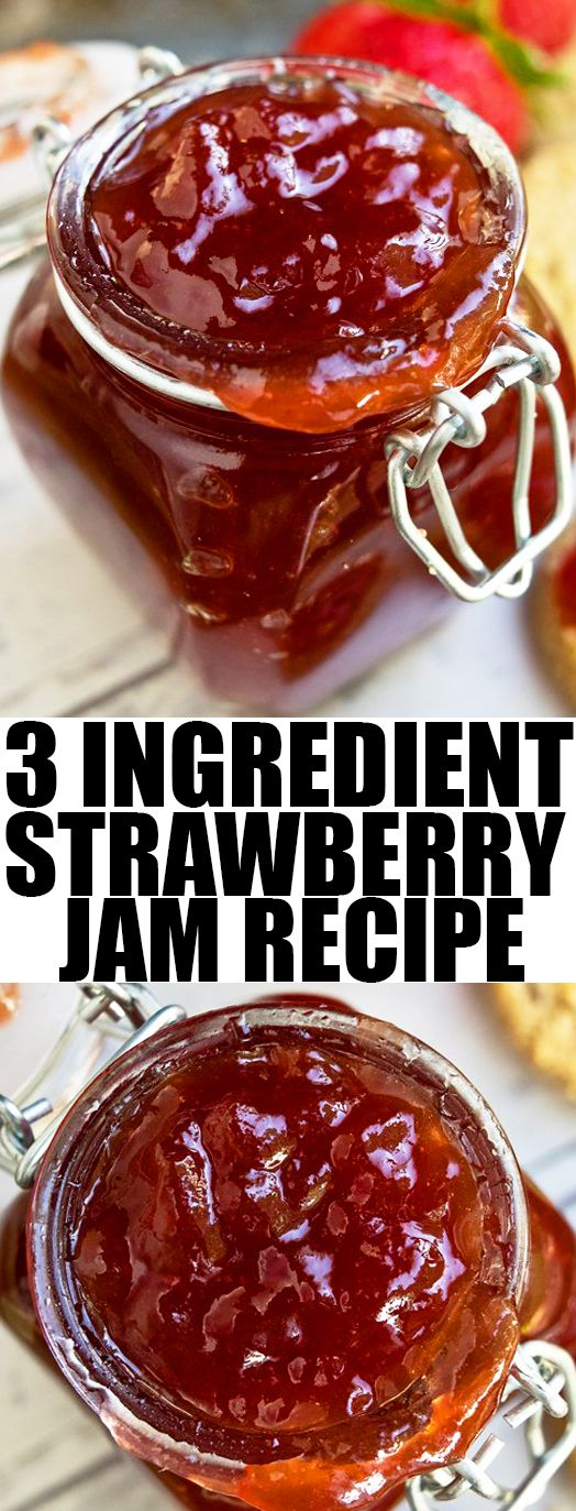 Quick and easy homemade STRAWBERRY JAM recipe without pectin, requiring simple ingredients. This simple freezer strawberry jam is perfect for cake filling or cookie filling.