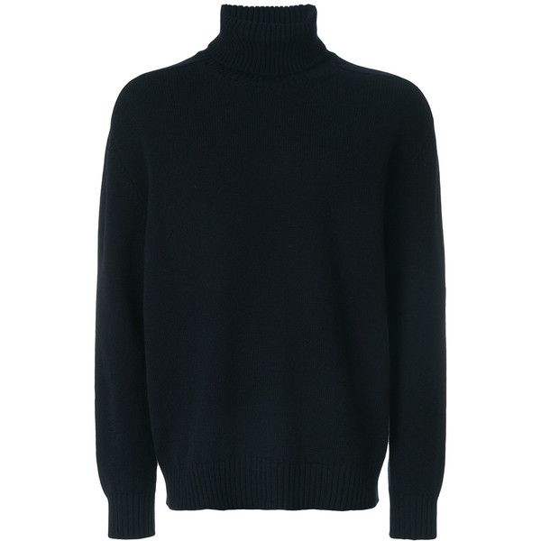 Laneus long sleeved turtle neck jumper ($318) ❤ liked on Polyvore featuring men's fashion, men's clothing, men's sweaters, blue, mens blue sweater and mens turtleneck sweater