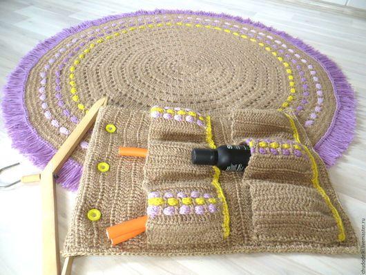 Набор: ковер ручной работы и органайзер для ванной комнаты - выполнен из джутового волокна, декорирован пряжей. Ковер ручной работы, из джута, ковер вязаный, ковер крючком, коврик в ванную комнату, ко