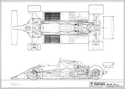 Ferrari 126 CK F1 Schematics Technical Drawings – Diagram Of A Formula 1 Race Engine