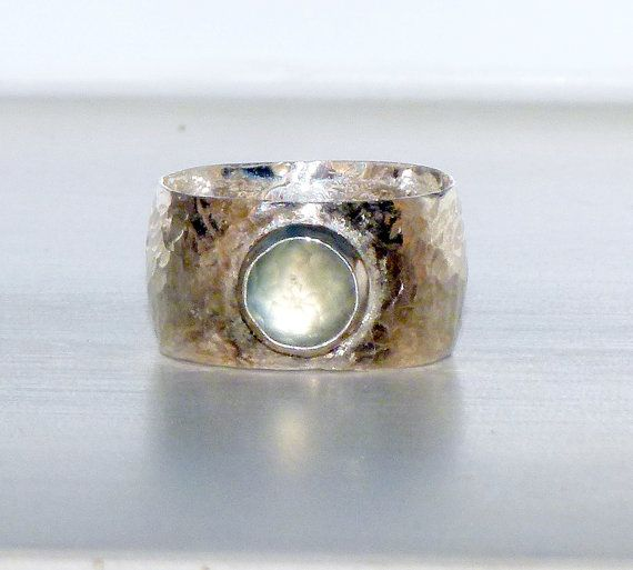 Handmade distressed, primitive, unique wide band wedding ring- medieval dark sterling silver gemstone wedding band- renaissance wedding band on Etsy, $185.00