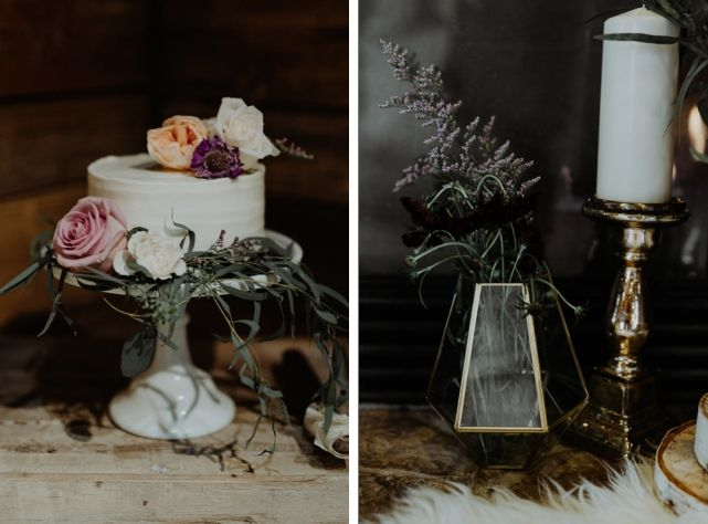 wedding planner, kismet and clover, canmore and banff wedding planner, rustic wedding, vintage wedding, wedding decor, reception decor, tabletop decor, lavender and gold, centerpiece, wedding cake, modern cake
