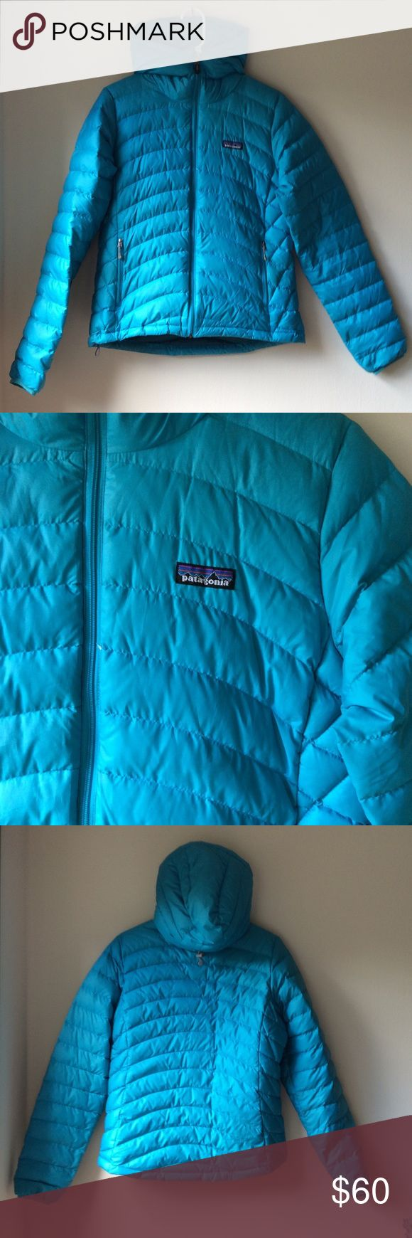 Patagonia down sweater with hood MOVING OVERSEAS: MUST GO (or go to Goodwill) !! Patagonia down sweater with hood. EXCELLENT condition - no holes, tears, or feathers escaping. Fun, bright blue! Perfect for camping or backpacking (or just winter!) Patagonia Jackets & Coats Puffers