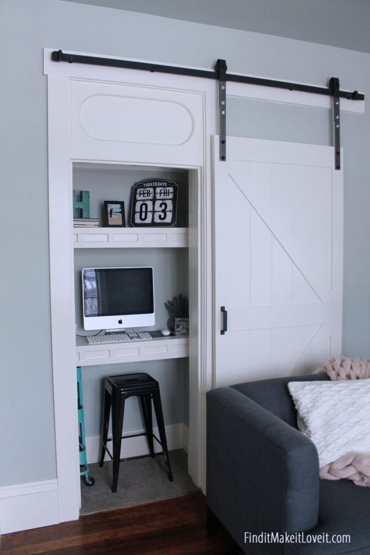 Closet turned Office Space - making the most of small spaces! Perfect weekend project!