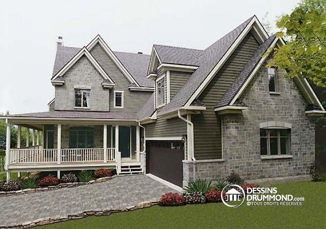 Vue avant 4 chambres, garage double, bureau à domicile et grand espace boni…