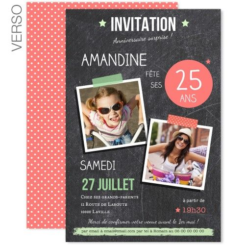 Invitations Anniversaire Adulte - Ardoise Pop