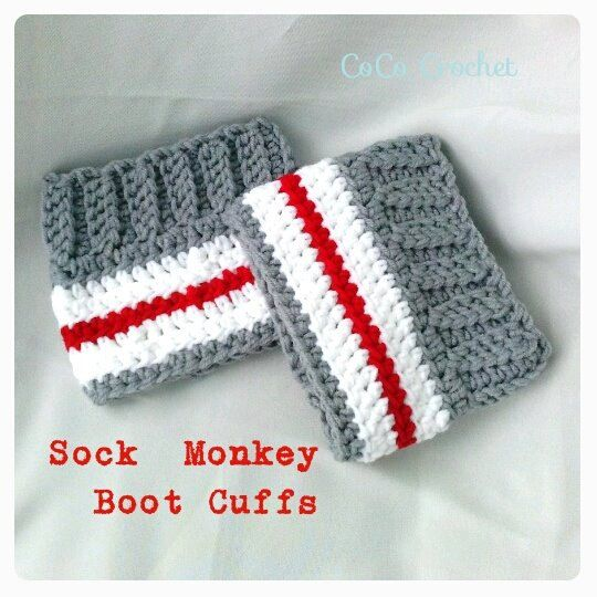 Crocheted Sock Monkey work sock style boot cuffs with ribbed stitching on Etsy, $17.09
