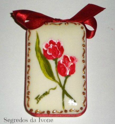 SA57-  Pintura em sabonete - motivo floral