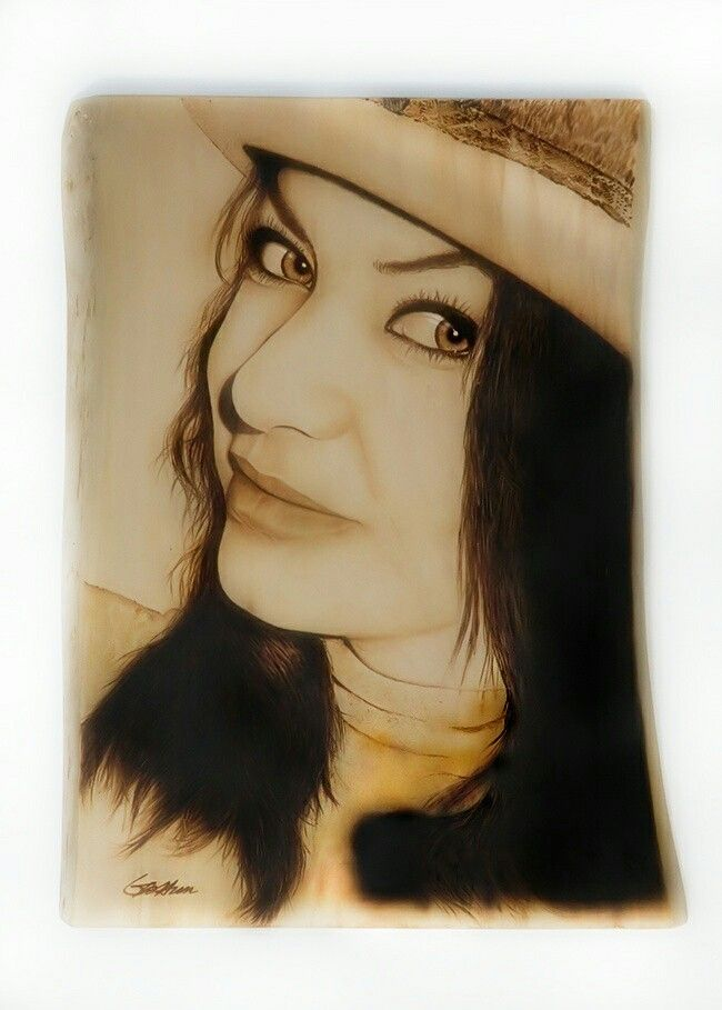 Valerie - Pyrography on wood