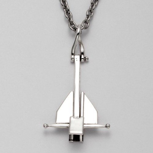 """Sterling Silver Danforth Anchor Pendant with 24"""" Stainless Steel Cable Chain Wildthings Ltd.. $79.00. Made from .925 Sterling Silver. Sold with a 24"""" Stainless Steel Cable Chain. THIS DESIGN IS COPYRIGHT PROTECTED ©. The flukes are movable.  H 1¼"""" x W 7/8"""". To View More of Our Related Product Search Amazon Jewelry for """"ODDITY SHOP SAIL BOAT"""". This is a beautiful piece of jewelry with wonderful details"""