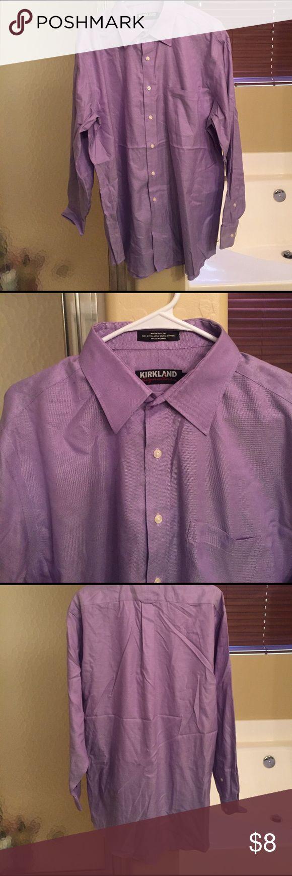 Mens Purple Dress Shirt Kirkland Signature  Size: 17/34 Non-Iron 100% Extra Long Staple Cotton  #8 Kirkland Signature Shirts Dress Shirts