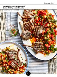 Waitrose Food August 2016: Beaten lamb chops with inzamino (braised chick peas and chard)
