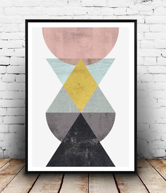 Scandinavische print, geometrische art aquarel afdrukken, driehoeken art, minimalistische inrichting, Wall afdrukken, Home decor, moderne kunst, Scandinavische stijl,