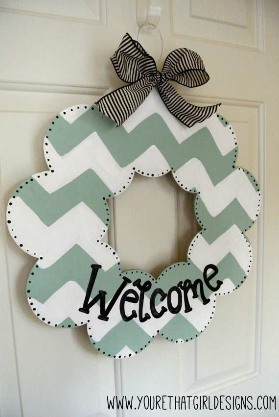 Mint Chevron Welcome Wood Wreath - chevron decor - chevron wreath - chevron sign via Etsy