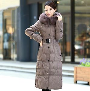Women Thicken Real Fox Fur Waistbelt Full Length Down Coat Jacket ...